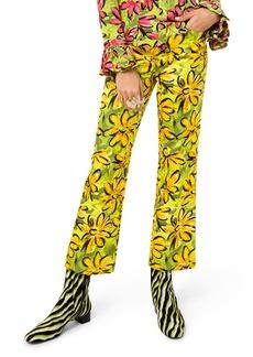 Michael Kors Daisy Floral-Print Sateen Trousers