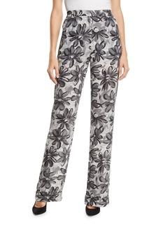 Michael Kors Daisy-Print Crushed Georgette Pajama Pants