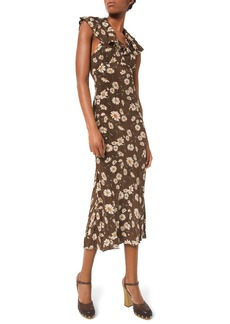 Michael Kors Daisy-Print Crushed Ruffle Dress