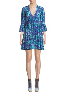 Michael Kors Daisy Print Georgette Mini Dress