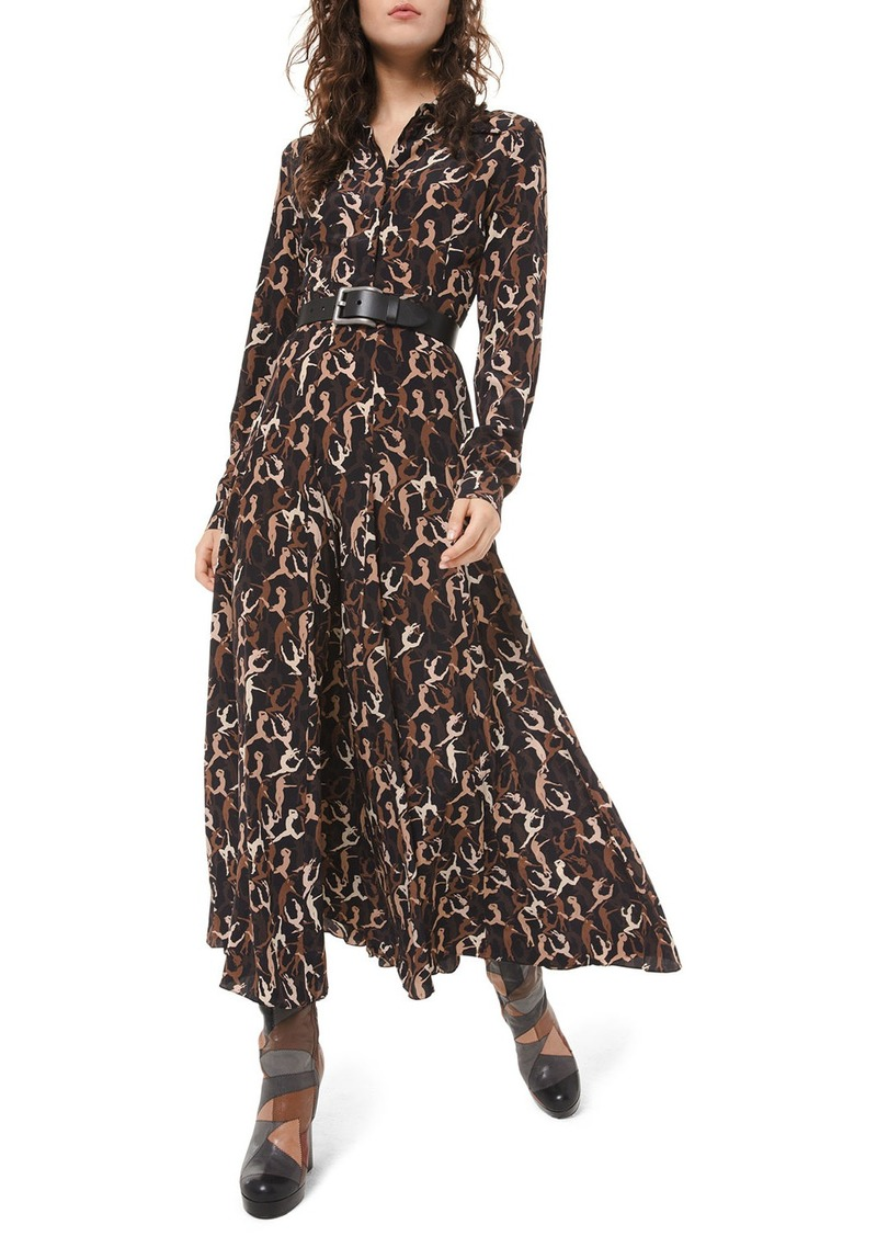 Michael Kors Dancer-Print Crushed Georgette Shirtdress