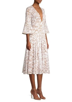 Michael Kors Deep V-Neck Lace Bell-Sleeve Dress
