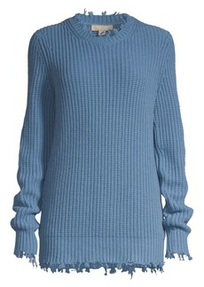 Michael Kors Distressed Shaker Knit Cashmere Pullover Sweater