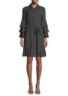 Michael Kors Dot-Print Silk Tiered-Sleeve Shirtdress