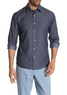 Michael Kors Dot Print Slim Fit Chambray Shirt