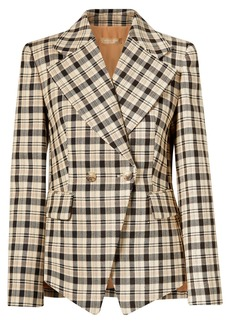 Michael Kors Double-breasted Checked Wool Blazer