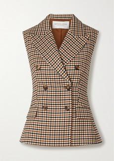 Michael Kors Double-breasted Checked Wool-blend Gabardine Vest