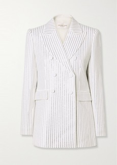 Michael Kors Double-breasted Crystal-embellished Crepe Blazer