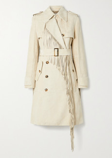 Michael Kors Double-breasted Fringed Suede Trench Coat