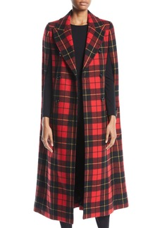 Michael Kors Double-Breasted Tartan Plaid Cape Coat