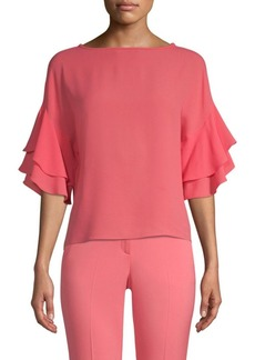 Michael Kors Double Flutter Sleeve Blouse