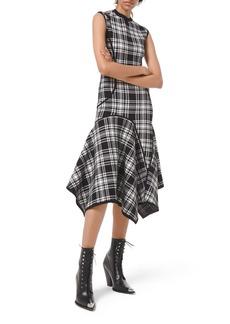 Michael Kors Double-Knit Plaid Handkerchief Dress