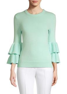 Michael Kors Double Ruffle Sleeve Cashmere Sweater