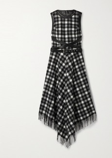 Michael Kors Dover Belted Leather-trimmed Checked Wool Midi Dress