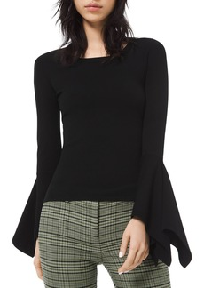 Michael Kors Draped-Cuff Scoop-Neck Sweater