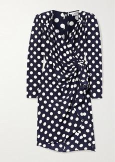 Michael Kors Draped Wrap-effect Polka-dot Silk Crepe De Chine Dress
