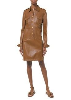 Michael Kors Drop-Waist Leather Shirtdress