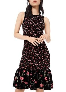Michael Kors Embellished Floral-Print Jersey Flounce Dress