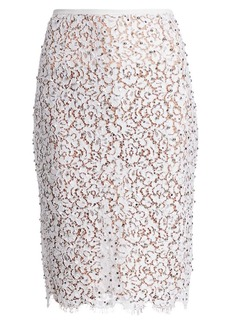 Michael Kors Embellished Lace Pencil Skirt