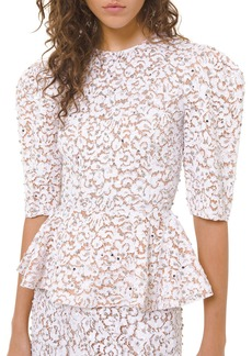 Michael Kors Embroidered Lace Peplum Top