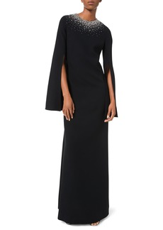 Michael Kors Embroidered-Neck Tunic Crepe Gown