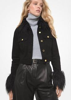 Michael Kors Faux Fur Trim Cropped Denim Jacket