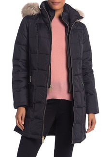 Michael Kors Faux Fur Trim Hooded Quilted Down Jacket