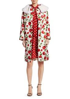 Michael Kors Faux Mink Collar Rose-Print Coat
