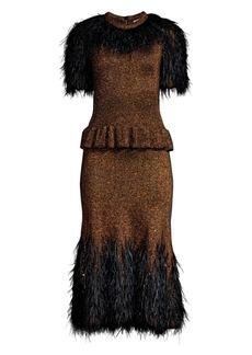 Michael Kors Feather-Embellished Metallic Peplum Dress