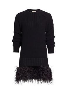 Michael Kors Feather-Hem Cashmere Shaker-Knit Sweaterdress
