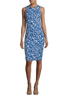 Michael Kors Field Floral-Print Stretch-Matelasse Sheath Dress