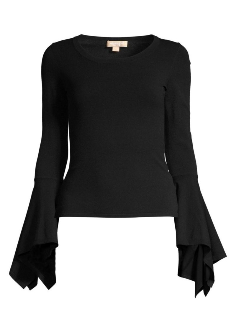 Michael Kors Flare-Sleeve Knit Pullover Top