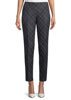 Michael Kors Flat-Front Wool Crosshatch Pants