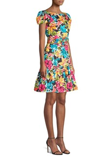 Michael Kors Floral Belted Cap-Sleeve Dress