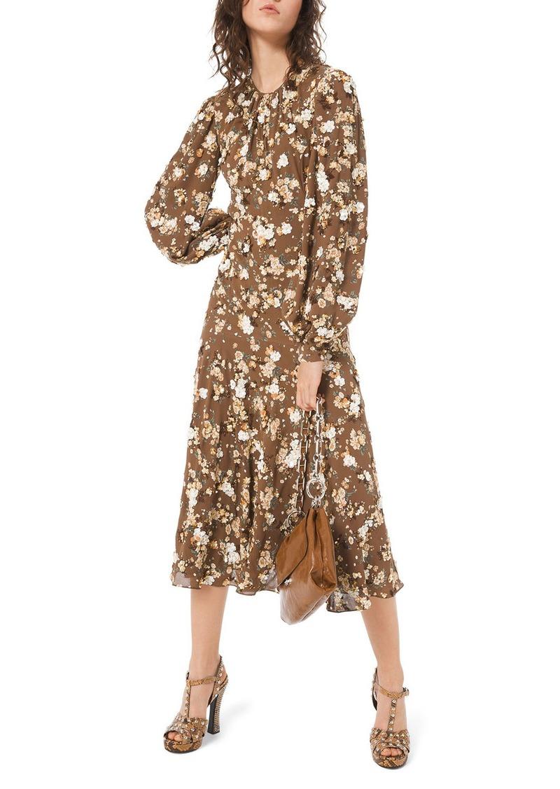 Michael Kors Floral-Embroidered Blouson Sleeve Midi Dress