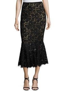 Michael Kors Floral Lace Trumpet Midi Skirt