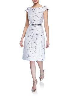 Michael Kors Floral Metallic Belted Dress
