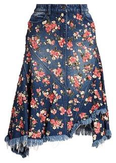 Michael Kors Floral Paillette Frayed Denim Skirt