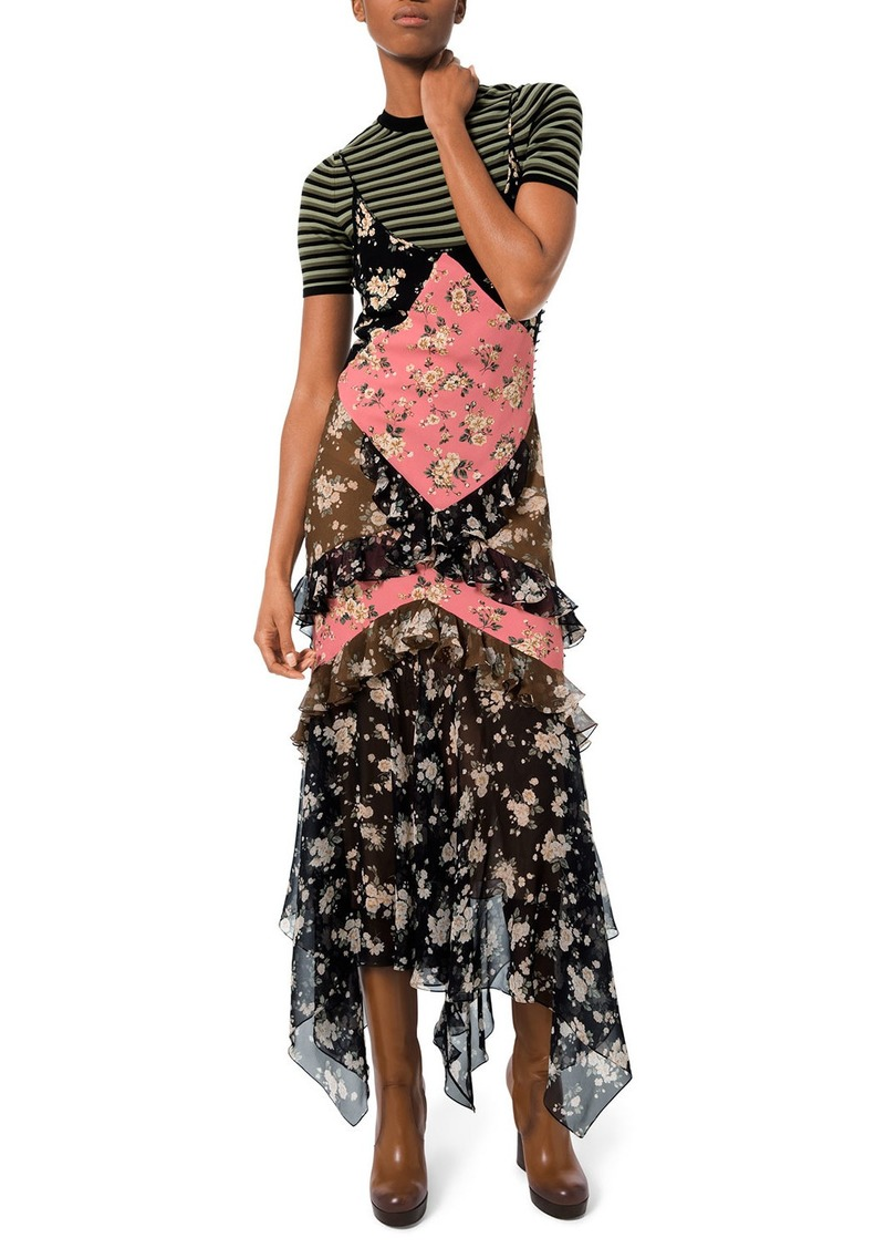 Michael Kors Floral-Patchwork Chiffon Ruffled Maxi Dress