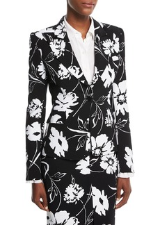 Michael Kors Floral-Print Crepe Cady Tailored Jacket