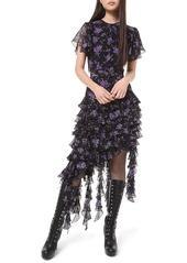Michael Kors Floral-Print Georgette Tiered Ruffle Dress