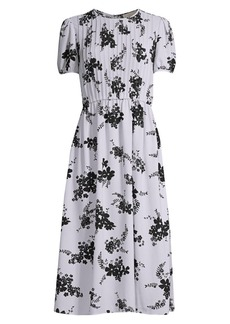 MICHAEL Michael Kors Floral-Print Pintuck Maxi Dress