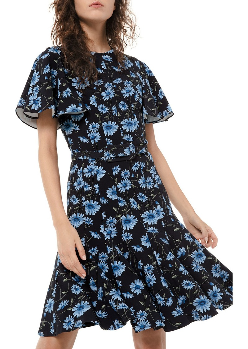 Michael Kors Floral-Print Short-Sleeve Dance Dress