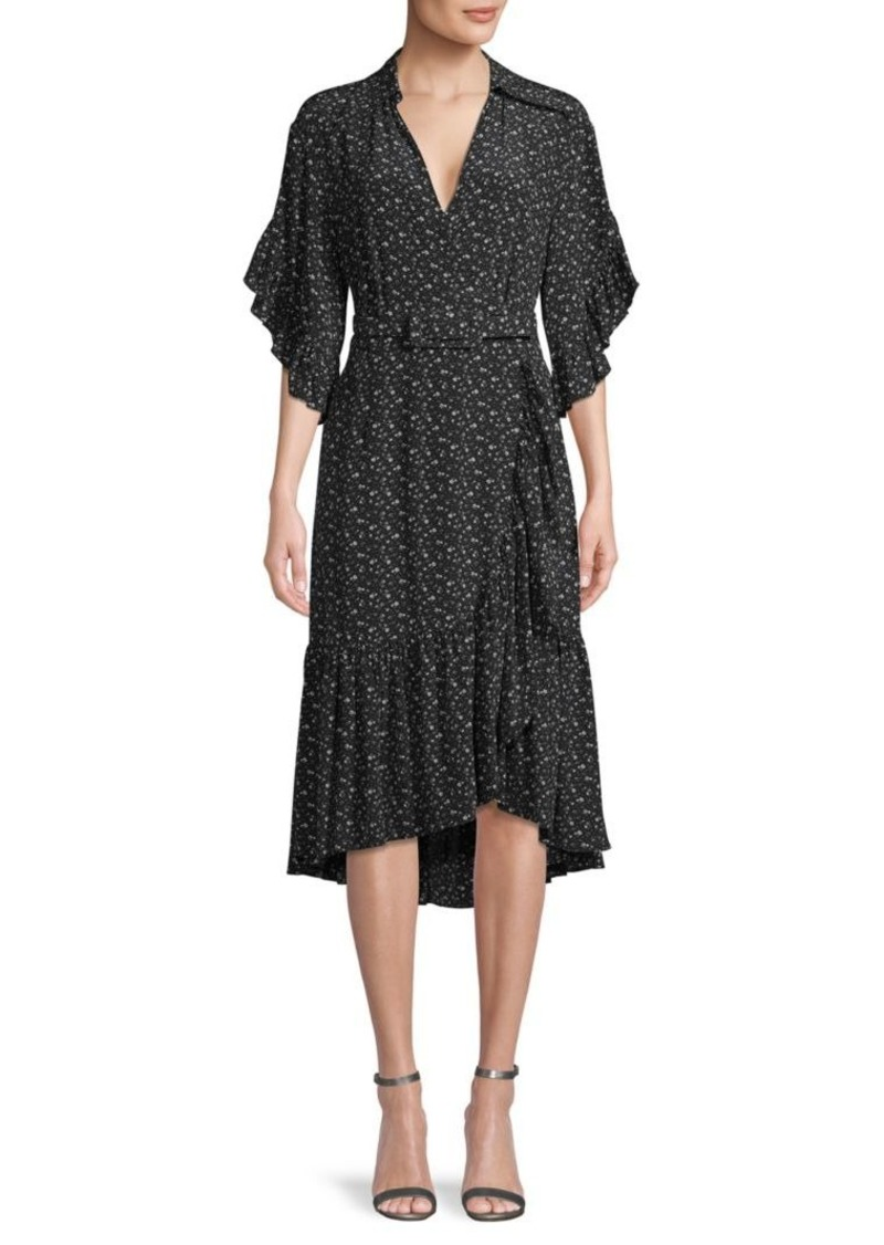Michael Kors Floral-Print Silk Wrap-Effect Dress