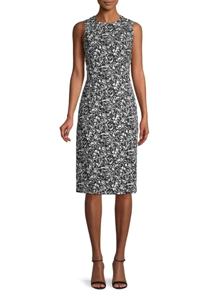 Michael Kors Floral-Print Sleeveless Sheath Dress