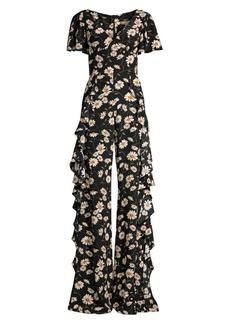 Michael Kors Floral Ruffle Wide-Leg Silk Jumpsuit