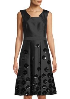 Michael Kors Floral-Sequin Fit-&-Flare Dress