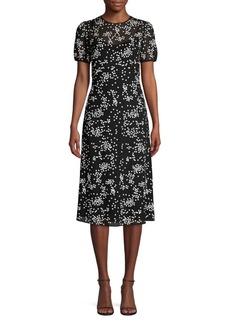 Michael Kors Floral Sequin Overlay Midi Dress