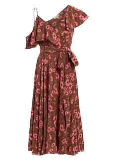 Michael Kors Floral Silk Asymmetrical Ruffle Dress