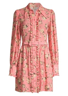 Michael Kors Floral Silk Ruffled Shirtdress